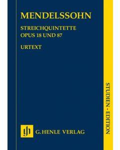 MENDELSSOHN STREICHQUINTETTE OP18 & 87 STUDY SCORE